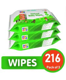 BeyBee Natural Baby Wipes - 216 Pieces
