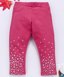 OVS Full Length Heart Print Leggings - Pink