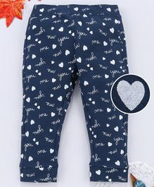 OVS Full Length Heart & Text Print Leggings - Blue