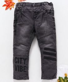 OVS City Vibe Print Hem Full Length Jeans - Dark Grey