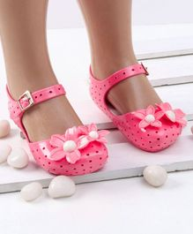 Mini Sed Flower Decorated Hollow Pattern Rain Sandals - Pink
