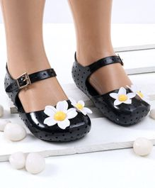 Mini Sed Flower Decorated Hollow Pattern Rain Sandals - Black
