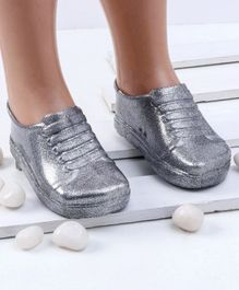 Mini Sed Glitter Finish Rain Shoes - Silver