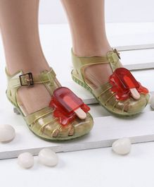 Mini Sed Ice Pop Decorated Rain Sandals - Yellow