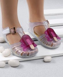 Mini Sed Ice Pop Decorated Rain Sandals - White