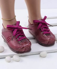 Mini Sed Hollow Pattern Shiny Rain Shoes - Purple