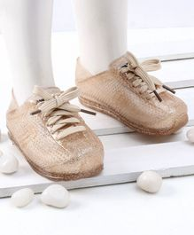 Mini Sed Hollow Pattern Shiny Rain Shoes - Gold