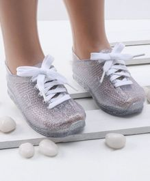 Mini Sed Hollow Pattern Shiny Rain Shoes - Silver