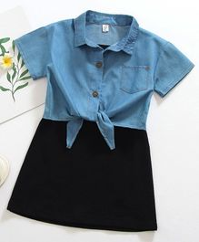 Pre Order - Awabox Denim Half Sleeves Shirt With Little Black Dress - Blue