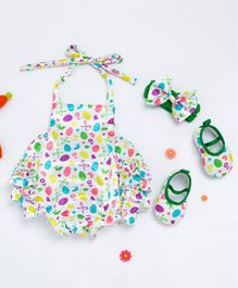 Pre Order - Awabox Egg Printed Sleeveless Onesie With Head Band & Shoes - Multi Colour