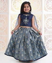 Babyhug Sleeveless Choli And Check Lehenga With Dupatta Studded Detailing - Navy Blue