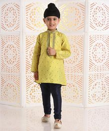 Babyhug Full Sleeves Printed Kurta & Pyjama Set - Light Yellow