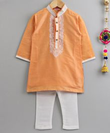 Babyhug Full Sleeves Kurta And Pyjama Set Embroidered - Yellow White