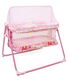Mothertouch Cradle With Mosquito Net Multi Print - Pink