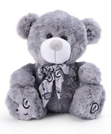 Starwalk Teddy Bear Plush with Printed Scarf Grey - 34 cm