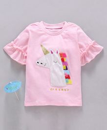 Kookie Kids Angel Sleeves Top Unicorn Patch - Pink