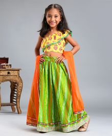 Pspeaches Flower Print Sleeveless Choli With Dupatta & Lehenga Set - Yellow Orange & Green
