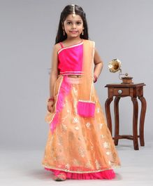 Pspeaches Sleeveless Asymmetrical Neck Choli With Floral Foil Print Lehenga & Dupatta - Pink & Peach