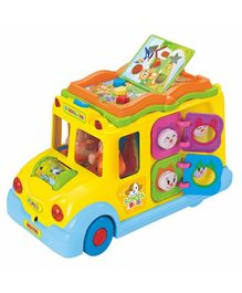 Yamama School Bus Toy With Light & Music And Shape Sorters - Multicolour