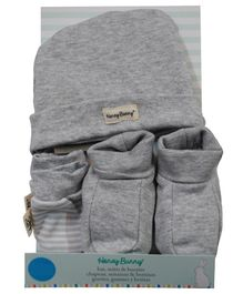Honey Bunny Cotton Cap Mittens And Booties Gift Set - Grey
