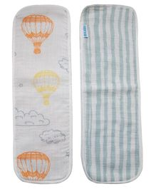 Abracadabra Hot Air Ballon Muslin Burpad Blue and White - Set of 2