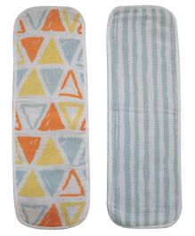 Abracadabra Muslin Burpad Triangle Print White and Blue - Set of 2