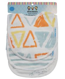 Abracadabra Muslin Printed Bibs White - Pack of 3