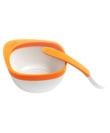 Zoli Mash Bowl With Spoon - Orange & White
