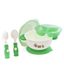 Zoli Stuck Bowl Feeding Kit - Green