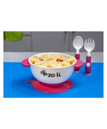 Zoli Stuck Bowl Feeding Kit - Pink