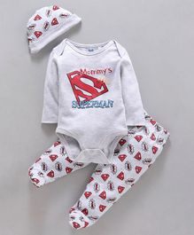 Mom's Love Full Sleeves Onesie With Leggings & Cap Superman Print - Grey