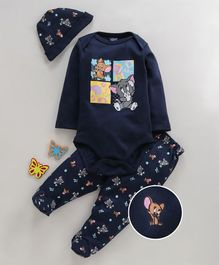 Mom's Love Full Sleeves Onesie With Leggings & Cap Tom & Jerry Print - Navy Blue