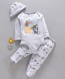 Mom's Love Full Sleeves Onesie With Leggings & Cap Tom & Jerry Print - Grey