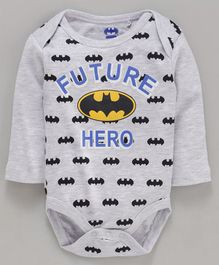 Mom's Love Full Sleeves Onesies Batman Print - Grey