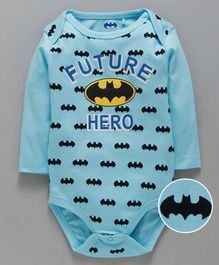 Mom's Love Full Sleeves Onesies Batman Print - Aqua Blue