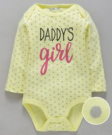 Mom's Love Full Sleeves Onesies Polka Dot Print - Yellow