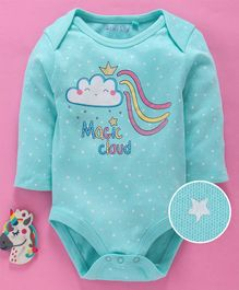 Mom's Love Full Sleeves Onesies Star Print - Sea Green