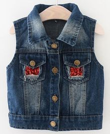 f70326e6a617d Pre Order - Awabox Sleeveless Sequin Embellished Own Patch Rugged Denim  Vest - Dark Blue