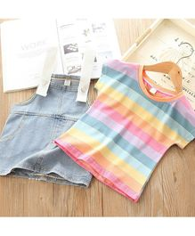 Pre Order - Awabox Short Sleeves Striped Tee With Denim Pinafore Dress - Multi Colour