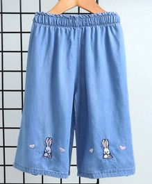 Kookie Kids Full Length Denim Culotte Bunny Embroidery - Blue