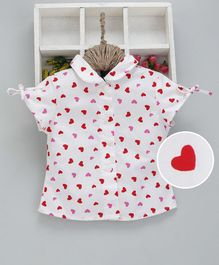 Kookie Kids Short Sleeves Shirt Heart Print - White
