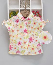 Kookie Kids Short Sleeves Shirt Floral Print - Pink Yellow