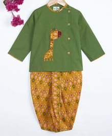 Kites Clothing Co. Giraffe Patch Full Sleeves Kurta With Dhoti - Green & Yellow