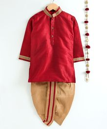 Jeet Ethnics Solid Full Sleeves Kurta & Dhoti Set With Golden Lace Detailing - Red