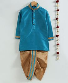 Jeet Ethnics Solid Full Sleeves Kurta & Dhoti Set With Golden Lace Detailing - Blue
