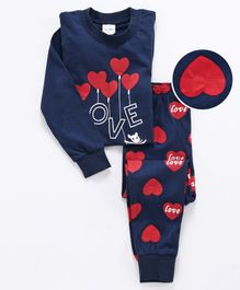 Unicorns Heart Balloon Print Full Sleeves Night Suit - Navy Blue