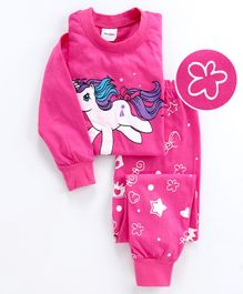 Unicorns Printed Full Sleeves Night Suit - Pink