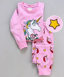 Unicorns Printed Full Sleeves Night Suit - Light Pink
