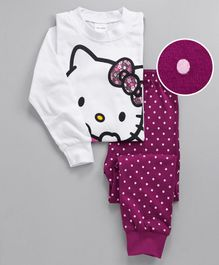 Unicorns Cat Print Full Sleeves Night Suit - White & Purple