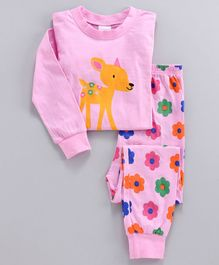 Unicorns Deer Printed Full Sleeves Night Suit - Pink